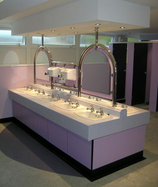 Custom Designed Vanity Unit - Back to back sinks with mirrors